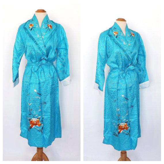 Vintage 1950s 60s Turquoise Blue Floral Embroidered Kimono Robe ...
