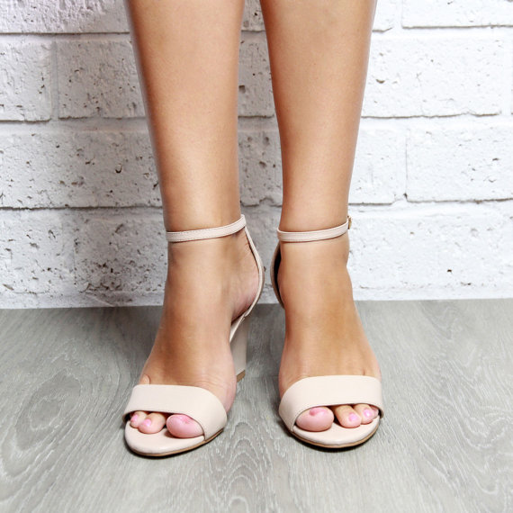 Nude Wedge Womens Shoes Wedding Bridal Heels Taupe Ankle Strap Perfect Party Or Sense Of Wonder