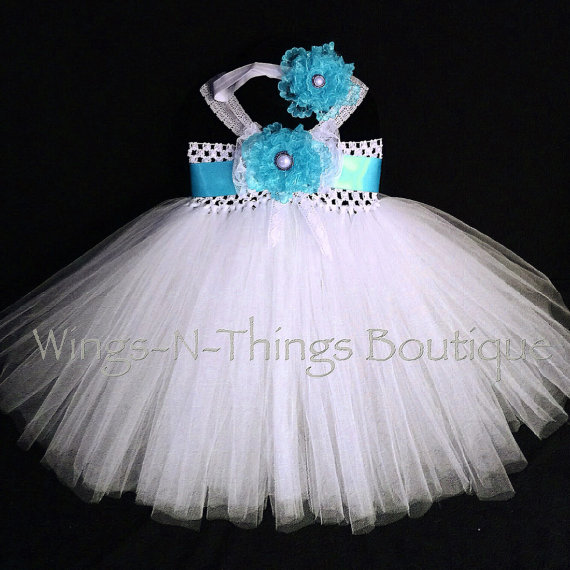 BLUE TUTU DRESS, Turquoise 2pc Set w/ Headband, Flower Girl, White, Lace,  Spring, Summer, Toddler, Infant, Baby Shower, Wedding, Birthday
