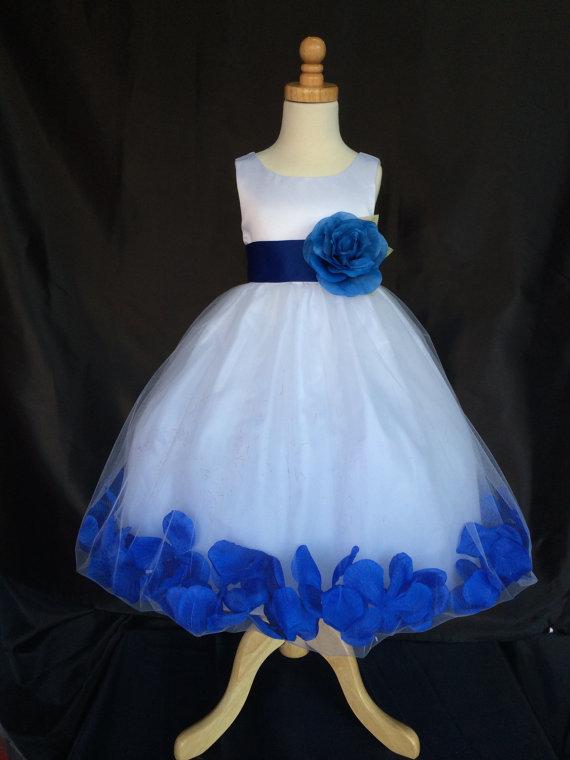 Mariage - Flower Girl Dress - White Petal Dress - Wedding, Easter, Junior Bridesmaid, Formal Girl Dress, Recital