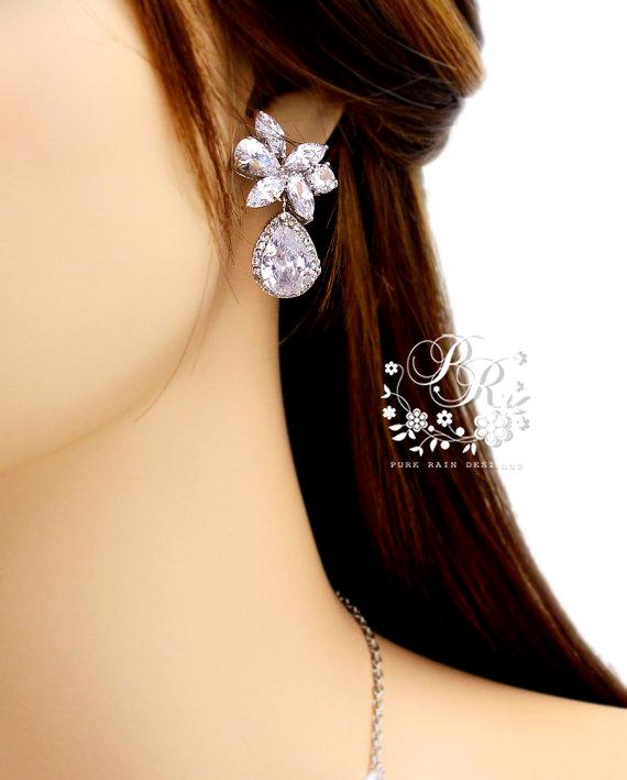 Свадьба - Wedding Earrings Platinum plated Teardrop Zirconia Earrings Wedding Jewely Bridesmaid Earrings Bridal Earrings Wedding Accessory Sasa