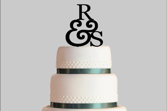 Wedding - Personalized Wedding Cake Topper, Initials and Ampersand Cake Topper, Acrylic Cake Topper