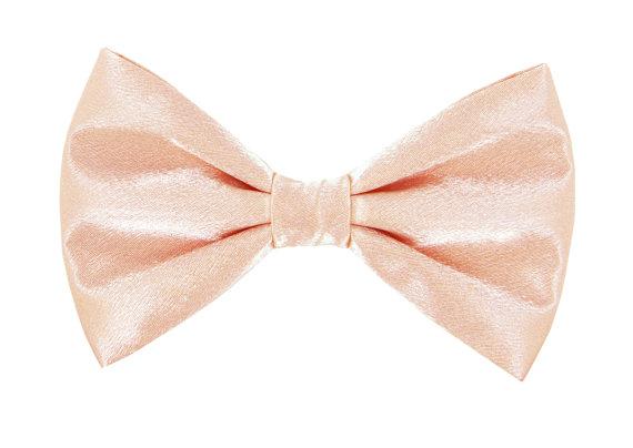 Свадьба - Blush Peach Satin Wedding Dog Bow Tie/ Formal Dog Bow: Blush Satin