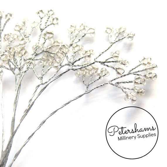 Wedding - 6 Stems Seed Bead Wired Trees for Tiaras, Millimnery & Crafts - Clear