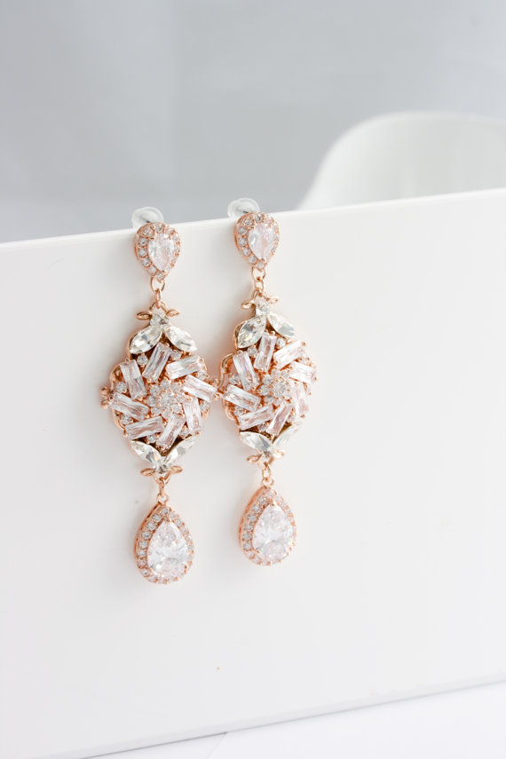 Bridal Earrings Rose Gold Crystal Earrings Crystal Wedding