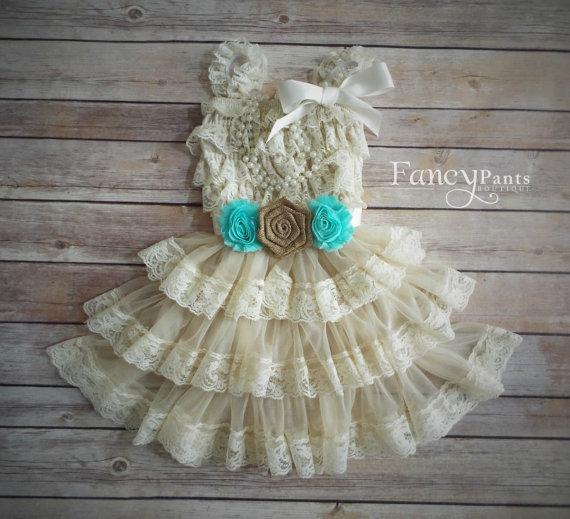Mariage - Burlap and Mint/Aqua Flower Girl Dress, Lace Flower Girl Dress,  Flower girl Dress, Rustic Flower Girl Dress, Lace Dress, mint , Aqua