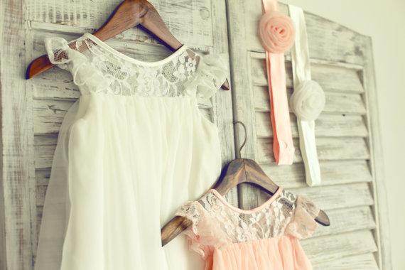 30b091b11ae1e Ivory Blush Pink Lace Chiffon Flower Girl Dress Cap Sleeves Wedding Easter Junior  Bridesmaid Baptism Baby Infant Children Toddler Kids Dress