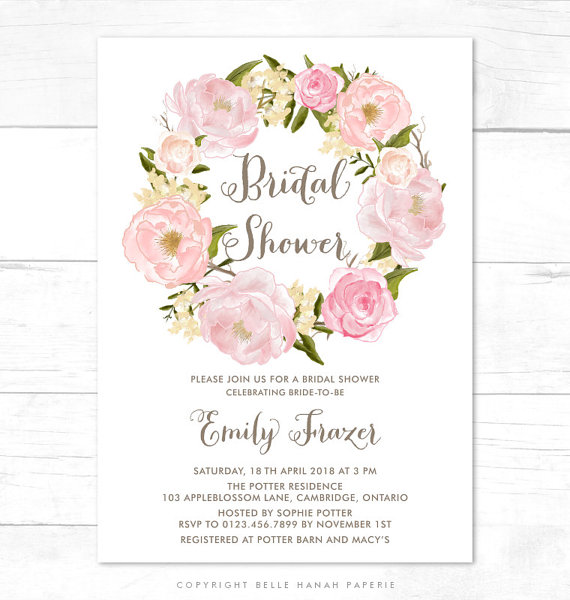 printable invitation blush pink flowers wreath bridal shower invitation belle peonies floral wreath customizable to any event