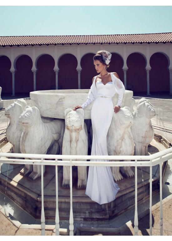 Wedding - Sweetheart Stain with Long Sleeves Jacket Mermaid Style Wedding Dresses
