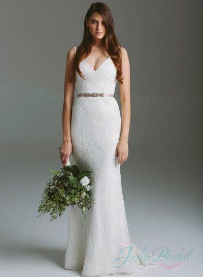 Elegant Strappy V Neck All Lace Sheath Wedding Dress 2315669