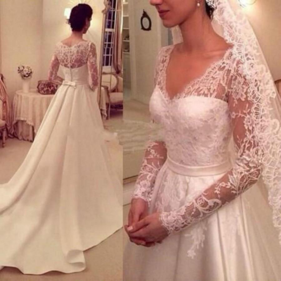 Vintage 2015 Wedding Dresses Long Sleeve Satin And Lace Sheer Neck ...
