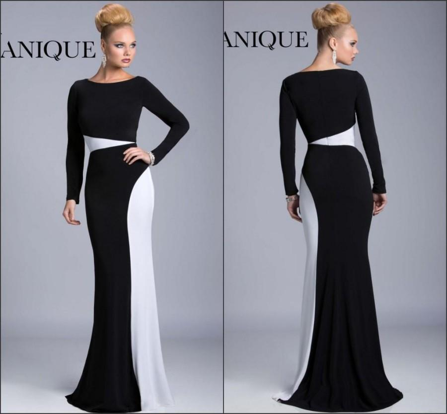 a8ee215a5e947 New Arrival Long Sleeve Fall Winter Evening Dresses 2015 Janique Black And  White Chiffon Fashion Formal Long Party Prom Dresses Ball Online with ...