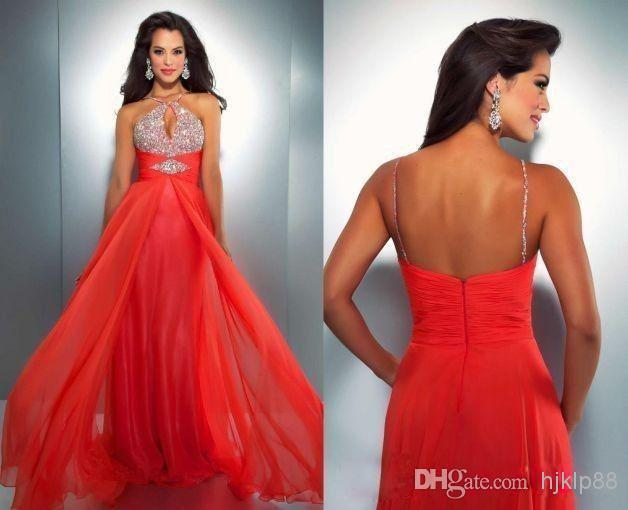Wedding - QM- Stunning 2014 New Arrival Evening Dresses Gown Sexy Halter Beaded Corset Empire Waist Open Back Pleated Chiffon FLoor Length Formal Gown Online with $93.53/Piece on Hjklp88's Store