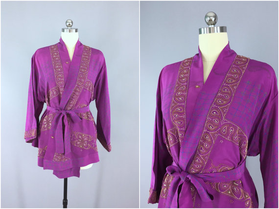 Wedding - Silk Kimono Cardigan / Kimono Jacket / Vintage Indian Sari / Short Robe Dressing Gown Wedding / Boho Bohemian / Purple French Embroidered