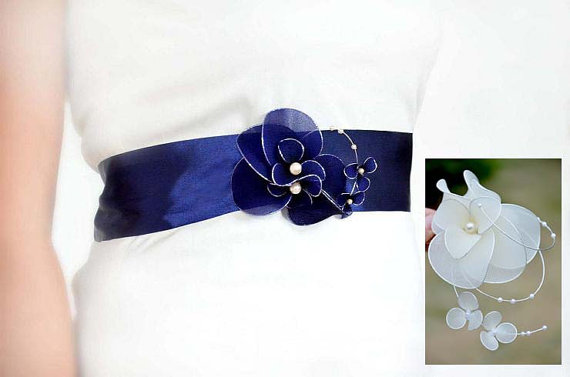 Wedding dress sash navy blue sash bridal sash belt ribbon for Blue sash for wedding dress