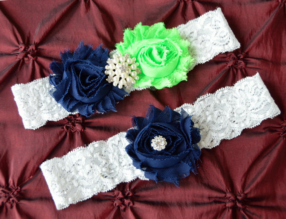 Mariage - Wedding Garter, White Lace Wedding Garter, Wedding Garters, Bridal Garter, Green Navy Blue Bridal Garter Set, Garter Set