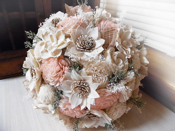 Mariage - Rustic Garden Pink Bridal Bouquet, Sola Flowers, Burlap, Lace.  Made to order.