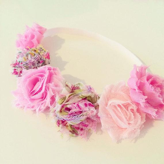 Pink Flower Crown Headband    Pink Flower Crown Headband For Baby ... a4fdfdf57af