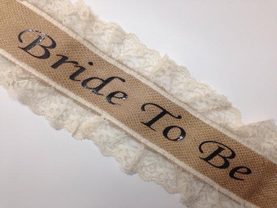 Mariage - Bachelorette Sash - Bridal Shower Sash - Burlap & Lace