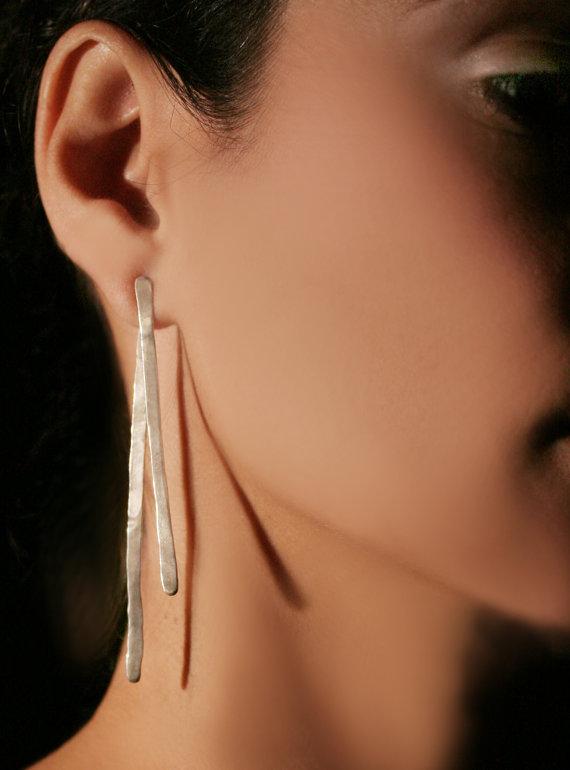 Hochzeit - Long silver earrings, Handmade jewelry, Free shipping, E0119