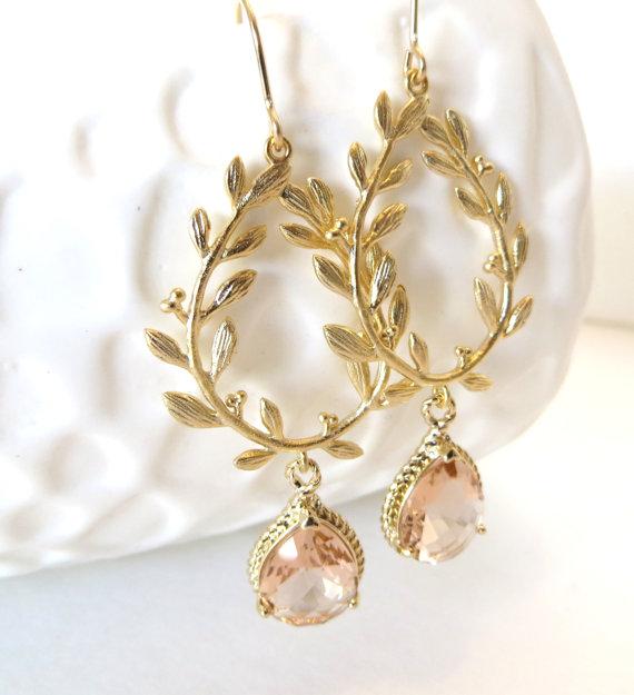 زفاف - Peach Earrings Gold Earrings Gold Leaf Laurel Wreath Greek Goddess Grecian Bridal Jewelry Peach Bridesmaid Earrings Peach Wedding Jewelry