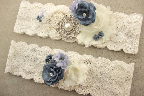 Wedding - Something Blue Garter, Dusty Blue Wedding Garter Set - Gold or silver Brooch Bridal Accessory, Periwinkle Blue Country Wedding Garder Belt