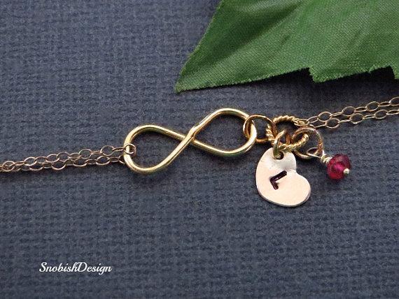 Свадьба - Personalized Infinity Bracelet, Birthstone Bracelet, Initial Heart Charm, Friendship Bracelet, Mom Gift, Sisters Jewelry, bridal, wedding