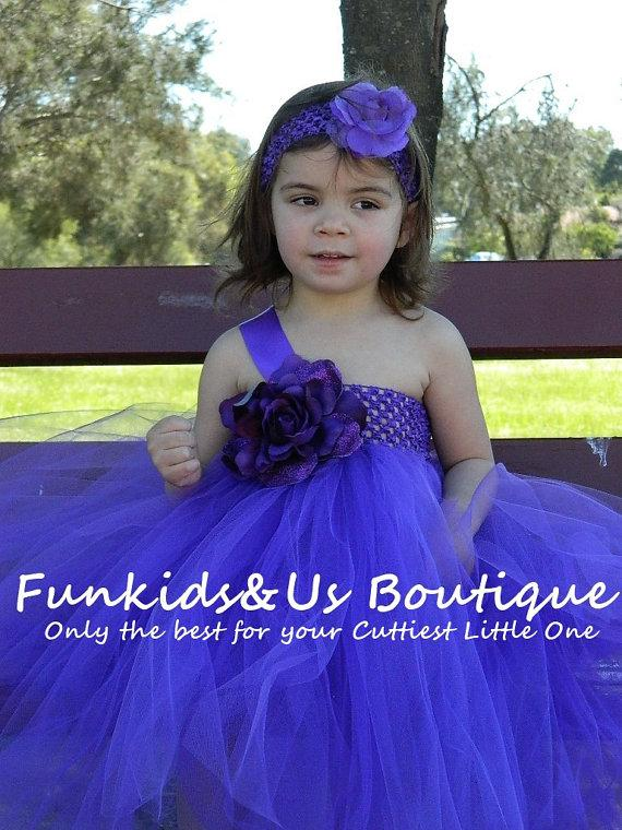Mariage - Flower Girl Dress - Purple Flower girl dress Tutu-Purple Tea length  Weddings-Purple Dresses