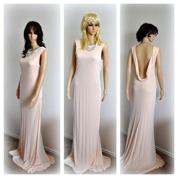 68c2da03b30 Fall Brides GET 30%off Celebrities Evening Gown Low back Wedding Dress  Romantic Glam Bridal Dress Blush Fitted Dress Unique Minimalist