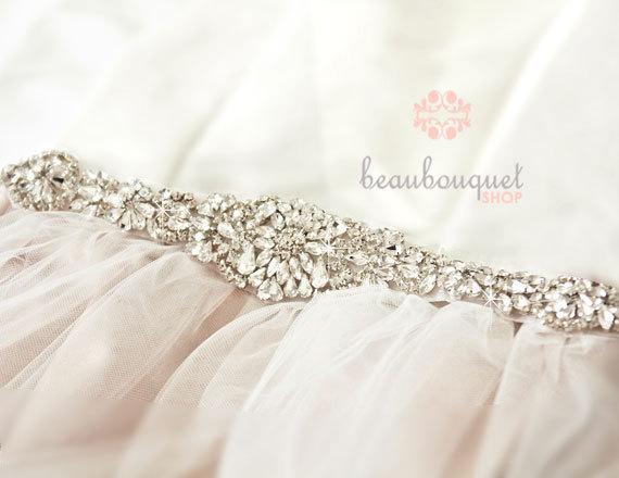 """Hochzeit - Crystal Bridal Sash Rhinestone Bridal Beaded Crystal Rhinestone Sash Wedding Sash 13"""""""