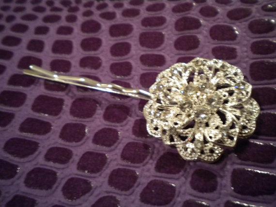زفاف - rhinestone hairpin, bridal hairpin, veil, bridal jewelry, accessories, Hair pin, rhinestone