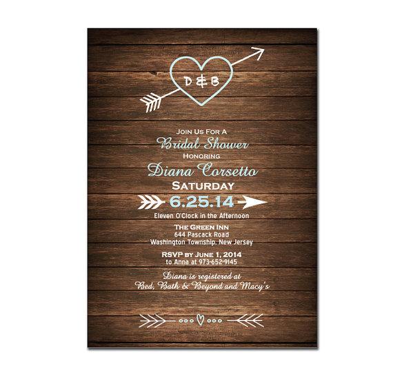 Wedding - Country Wood Bridal Shower Invitation DIY PRINTABLE Digital File or Print (extra) Bridal Shower Printable Heart Wedding Shower