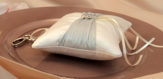 Свадьба - Pure Dupioni Silk and Rhinestones PET Ring Bearer Pillow with collar attachment ...show in ivory/silver gray