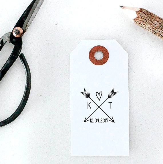 Свадьба - Arrow with Heart and Initials Wedding Invitation Rubber Stamp