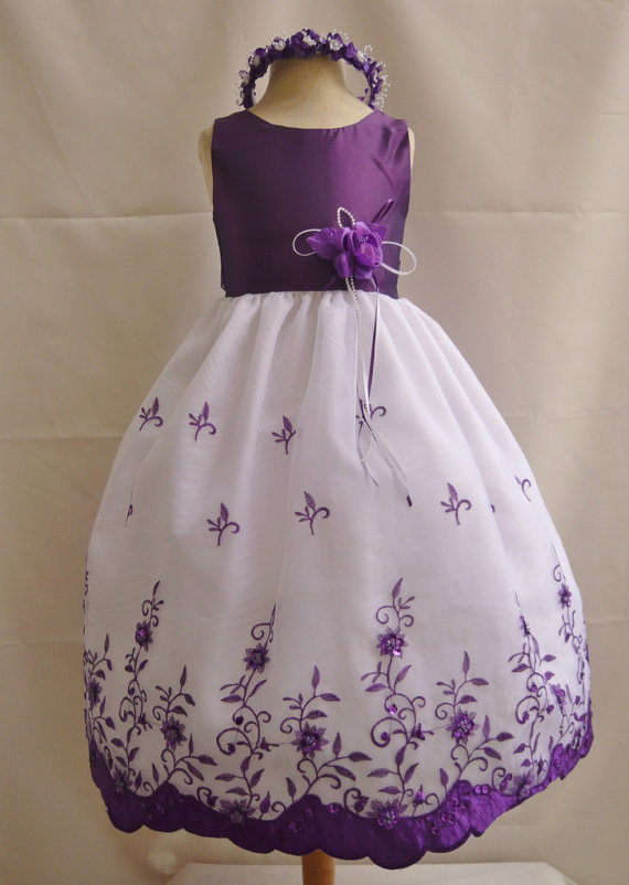 Hochzeit - Flower Girl Dresses - PURPLE Embroidery Dress (FD072) - Wedding Easter Junior Bridesmaid - For Children Toddler Kids Teen Girls