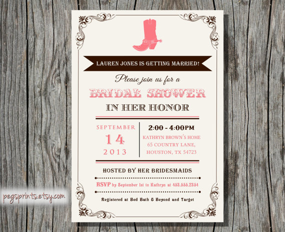 country western bridal shower invitation printable