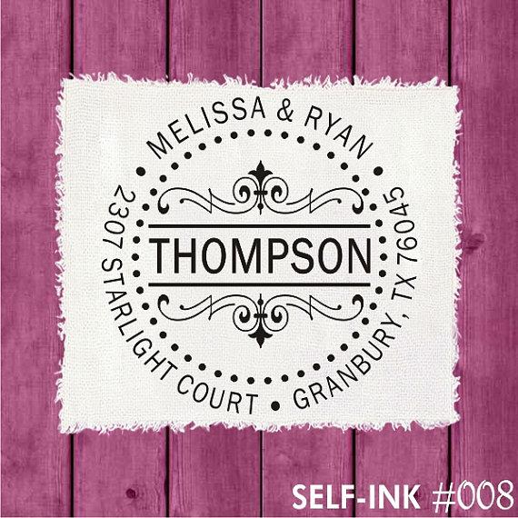Hochzeit - Round return address stamp, custom address stamp - self inking or wood mounted, 008