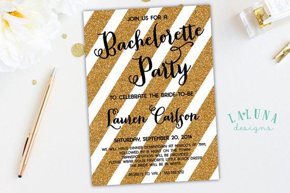 Свадьба - Bachelorette Invitation, Bachelorette Party Invitation, Glitter Bachelorette Invitation,  Bachelorette Invite, Gold Stripe Invitation