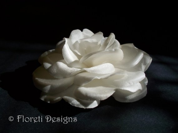 Свадьба - Couture Wedding Hair Flower Clip Off White Satin Rose Rochelle -Ready Made