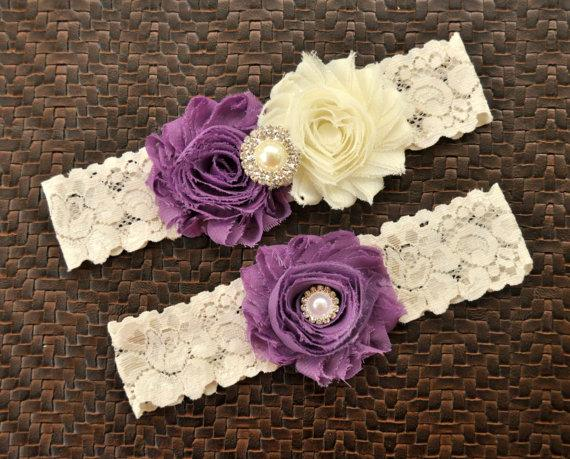 Hochzeit - Wedding Garter Set, Bridal Garter Set, Grape Wedding Garter, Grape Bridal Garter, Ivory Lace Garter, Ivory Garter Belt, Grape Garter Set