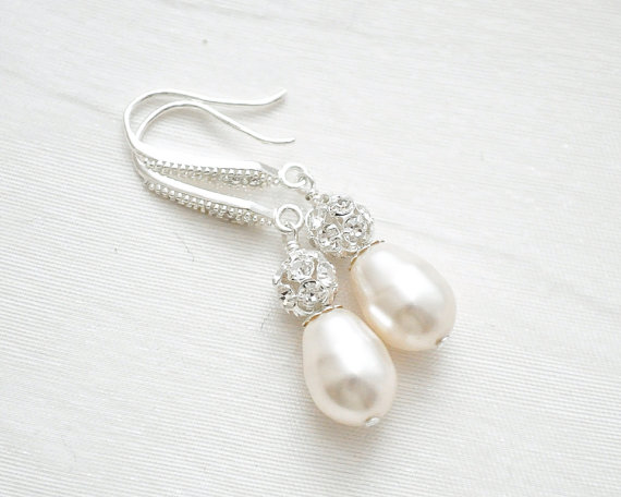 Bridal Earrings Teardrop Pearl Drop For The Bride Art Deco Wedding
