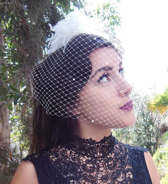 Mariage - Wedding Veil, Swarovski Crystal Dotted, Birdcage Veil, 9 Inch Birdcage Veil, Short Birdcage Veil, Ivory White,  Classic Glam