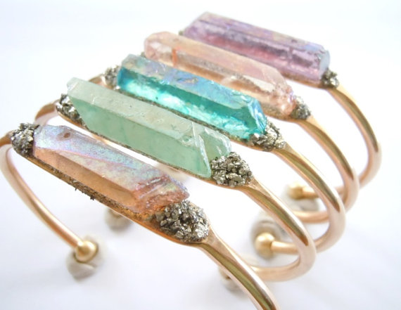 Springtime Raw Crystal Cuff Bracelet Boho Chic Bridesmaid Wedding Jewelry