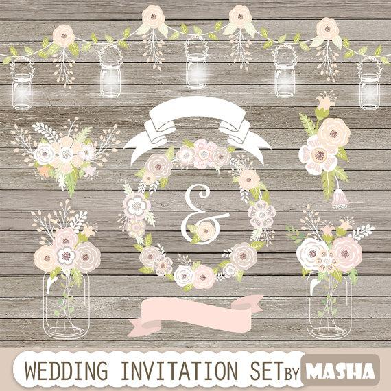 """Mariage - Wedding clipart: """"WEDDING INVITATION SET"""" with string lights, mason jars, ribbons, flowers bouquet, floral wreath for wedding invitations"""