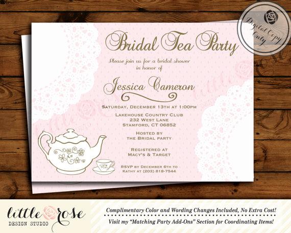 doily bridal tea party invitation bridal shower invite printable