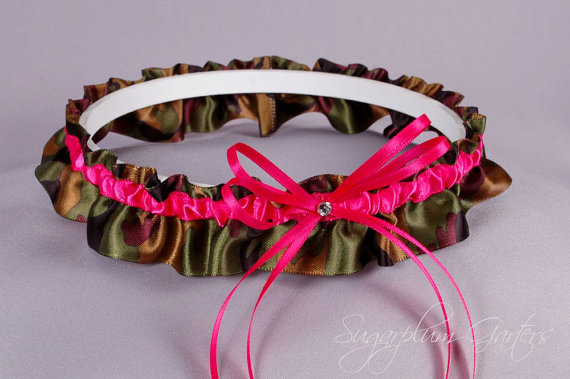 Wedding - Wedding Garter in Hot Pink and Camo Print Satin with Swarovski Crystal