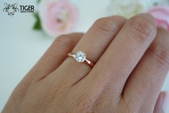 1/2 carat 5mm Solitaire Engagement Ring, Round Man Made Diamond Simulant,  Wedding, Promise Ring, Bridal, Sterling Silver, Rose Gold Plated