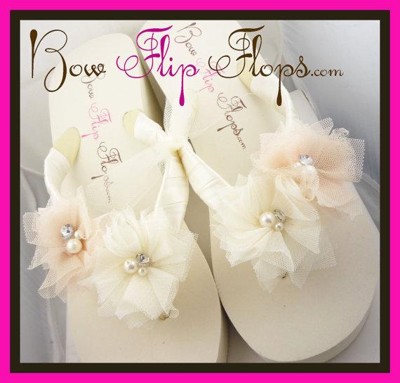 Ivory Wedge Flip Flops Ivory Flip Flops Bridal Flip Flops Wedding ...