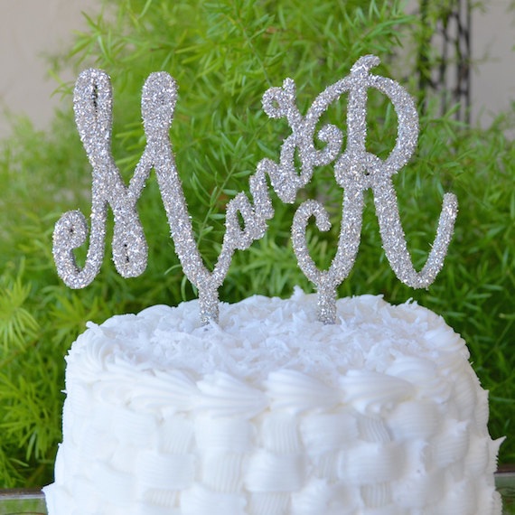 Hochzeit - Custom Wedding Cake Topper with Initials - Style #105