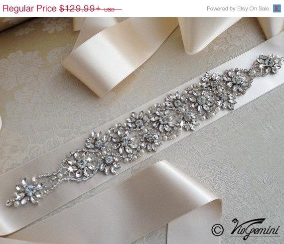 Mariage - SALE 10% OFF Crystal Rhinestone Sash, Diamond White Bridal Sash, Off White Sash, Ivory, Champagne Wedding Belt, Wedding Sash
